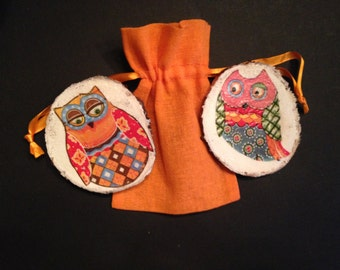 Owl Fridge Magnets with Orange bag