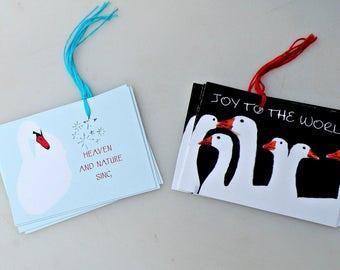 HOLIDAY Gift Tags Set of 8 Christmas ,Swan, Goose, Joy, Birds