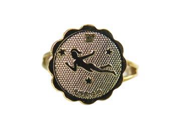 Vintage Gold Plated Astrological Sign Ring - VIRGO - one size fits most / adjustable (1x) (J633-F)