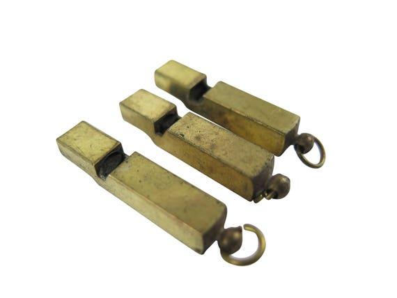 Vintage Tarnished Brass Whistle Pendants (1X) (V079)