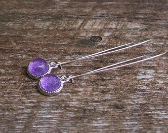 Recycled Early 1900's Amethyst Glass Bottle Long Charm Earrings/Recycled/Repurosed/Upcycled/Purple/Lavender/Eco Friendly/Gift for Her