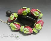 HANDMADE LAMPWORK Glass Beads artisan made beads lampwork focal bead lampwork earrings lampwork bracelet donna millard pink rose flower