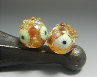 SRA HANDMADE LAMPWORK earring pair beads Donna Millard boho gypsy hip hippie earrings gold topaz yellow