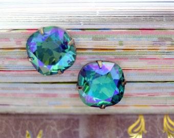 Enchanting Sea of Cortez Blue Swarovski Element Post Stud Earrings 12mm Bridal Prom Enchanting Color Cushion Cut