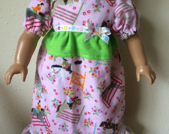 Flannel Nightgown for 18 inch Dolls Horseback Riding