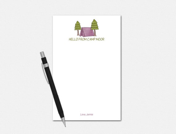 Personalized Camp Notepad for Girls