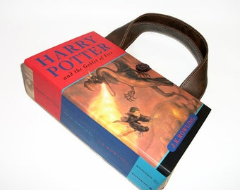 Harry Potter Goblet of Fire Book Purse, Handmade Book Clutch, Book Bag