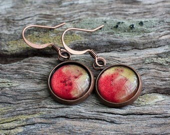 Red and Gold Dangle Drop Copper Earrings