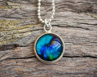 Hand painted aqua and royal blue pendant necklace