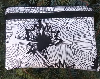 Large clutch, optional wristlet or shoulder strap, diabetic supply case, black and white, Persephone, The Morning Glory