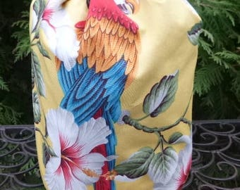 Parrot knitting project bag, WIP bag, drawstring bag, Macaw,  Suebee