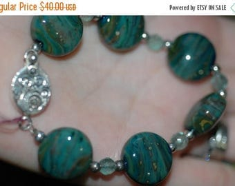 Spring Sale Green Moss Glass Lampwork Bracelet with Sterling Silver Box Clasp