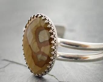 Picture Jasper Cuff. Double Cuff Bracelet. Sterling Silver Bracelet. Gemstone Silver Cuff. Silver Cuff Bracelet. Cabochon Jewelry