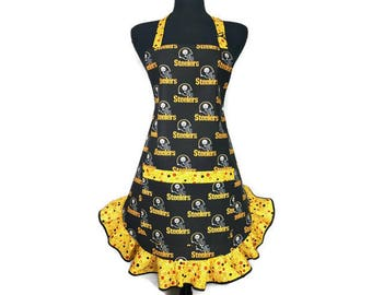 Pittsburgh Steelers Apron for Women , Retro Style Yellow Ruffle, Adjustable with Pocket , Football Kitchen Decor
