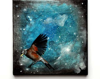 "The Night Robin - Original painting 8"" acrylic on canvas"