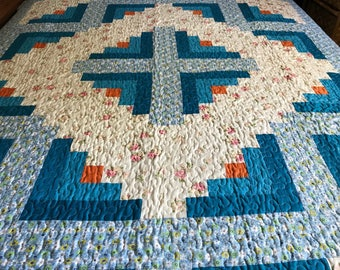 Spring Time Sale Twin  size Log cabin  Patchwork Complete Quilt