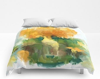 King Bed Cover, Bed Cover, Queen Bedding, Watercolor Bedding, Green And Gold, Bedroom Decor, King Bedding, Queen Bed Cover, Twin Bedding