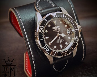 """Black Leather cuff watch INVICTA diver watch 2.25"""" wide Black leather- Red calf lined Custom made for YOU in NYC by Freddie Matara"""