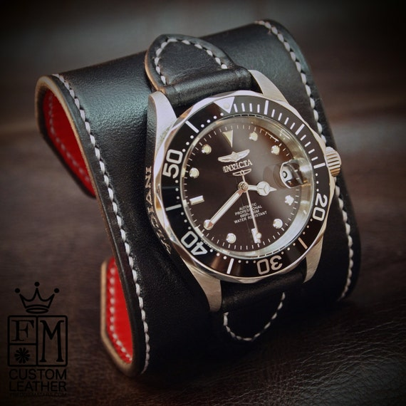 "Black Leather cuff watch INVICTA diver watch 2.25"" wide Black leather- Red calf lined Custom made for YOU in NYC by Freddie Matara"