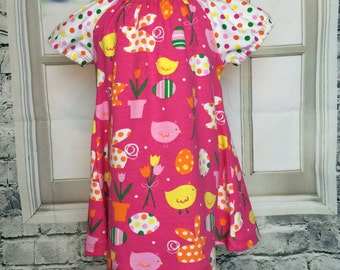 spring dress - you pick the size - bunny dress  - cute egg dress - infant dress -  colorful egg  - bunny dress - peasant - nickisrainbow