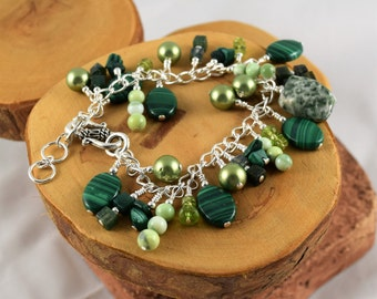 Green gemstone chunky cha cha bracelet chock full of different gorgeous stones and it's adjustable too!