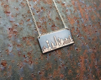 Dallas Texas skyline necklace   Dallas skyline pendant   etched copper pendant   handmade gift   jewelry for her