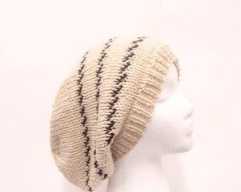 Hand knitted slouchy beanie hat  light bone color   5292