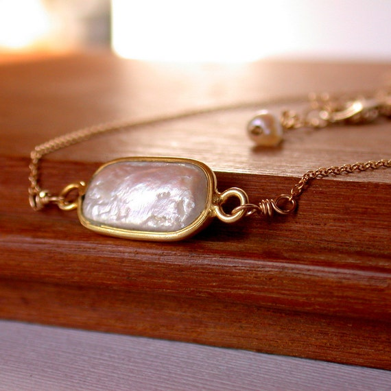 Gold Framed Freshwater Pearl Pendant. Pearl Pendant. Free shipping.