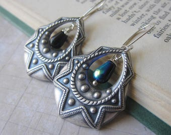 Sunflare - Antique Silver Earrings with Iridescent Black Accents