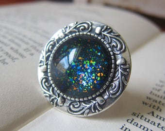 Prism Collection: Black Opal - Color-shifting Iridescent Glitter Adjustable Ring