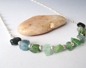 Blue Green Tourmaline Nugget Sterling Silver Necklace