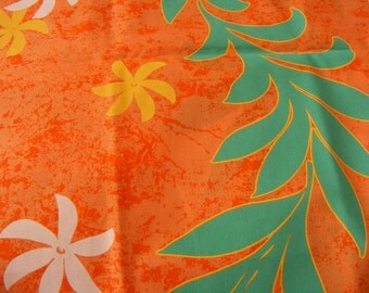 Destash Hawaiian Fabric Orange Seafoam Green Yellow Tiare  Half Yard Sewing Quilting