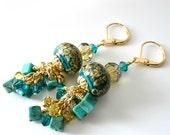 Turquoise Lampwork Earrings, Turquoise Gemstone Cubes, Crystals, Gold Earrings, Aqua, Green, Blue Zircon, Beaded Earrings, Beaded Jewelry