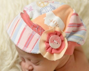 Infant Jax Hat - Montana hat - peach hat - gift baby - Baby Shower gift - photo prop - photographer baby girl hat - Upcycled recycled hat