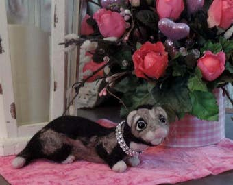 needle felted sable ferret,sable ferret,needle felt,plush ferret,handmade ferret,mustlid,OOAK ferret,handmade,