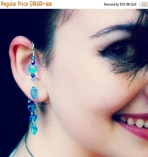 ON SALE Mermaid Lagoon Blue Ear Cuff  Boho Wrap, No Piercing Required Dangle Ear Cuff Earrings