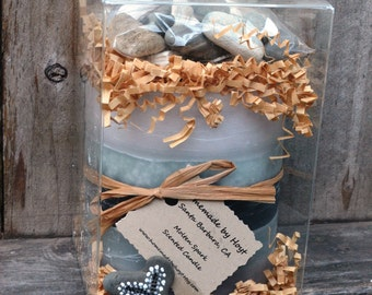 """Large BOX OF FLARE with Molten Spark Scented 4"""" x 4"""" Cylinder Candle, Shell Fragments, and Beach Rocks"""