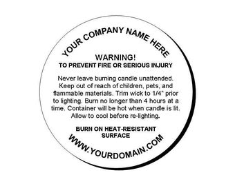 """Personalized Candle Warning Round Glossy Labels Stickers 1.67"""""""