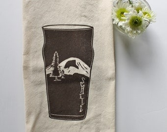 Seattle Pint Glass Block Printed 100% cotton Flour Sack Towel- Mount Rainier