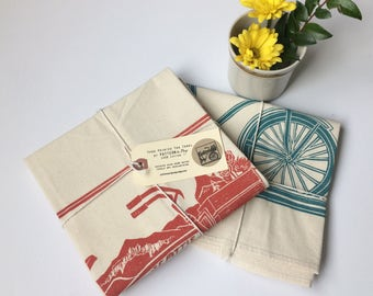 Bicycle and Growler Seattle Block Printed Flour Sack Towel-100%cotton