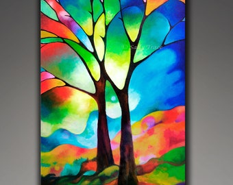Abstract Painting Print, Giclee on Stretched Canvas from my Original Painting, abstract Tree Painting, tree of life art, stained glass