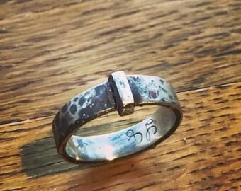 """Scottish Highland Skeleton Key Wedding Ring in Hammered Sterling - 3/8"""" Wide (9.5mm) - 12 Gauge Thick"""