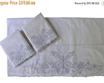 BIG SALE - Vintage Sheet Set - Italian Butterfly Sheet & 2 Pillow Cases - Full Queen - Unused - NOS - Italy