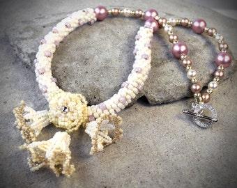 Bridal Jewelry - white jewelry for wife - Floral Jewelry - Fairy Tale Jewelry - Flower Necklace - Wedding Jewelry Wedding Necklace