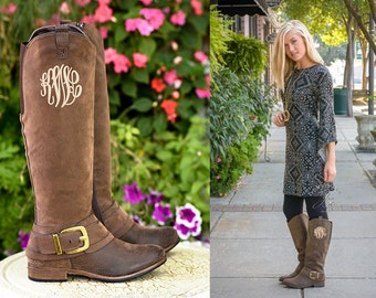 Monogrammed Boots in Master Circle Font - Personalized Womens Boots, Vegan Leather Boots, Monogram Cowboy Boots