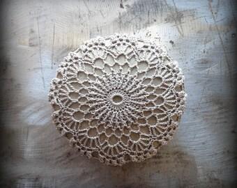 Crochet Lace Stone, Light Mocha Thread, Table Decoration, Home Decor, Nature, Handmade, Original, Monicaj