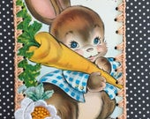 Crochet Easter Ornament - Happy Easter Carrot Bunny - Recycled Vintage Greeting Card