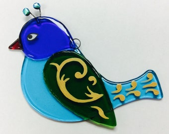 Fused Glass Suncatcher (Turquoise, blue, green bird)