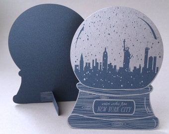 New York City snow globe, warm wishes
