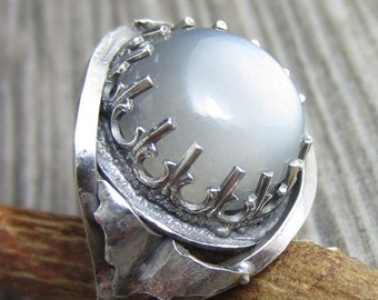 HOLIDAY SALE The Bat Ring - Sterling Silver and Gray Moonstone - Size 7.5